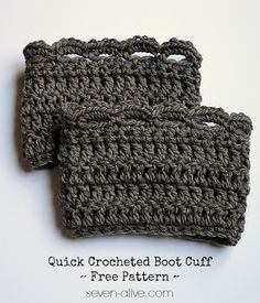Quick Crocheted Boot Cuff ~ Free Pattern by 7 Alive Crochet Leg Warmers, Crochet Boot Cuffs, Crochet Boots, Crochet Slippers, Crochet Clothes, Arm Warmers, Crochet Crafts, Crochet Projects, Free Crochet