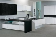 White modern kitchen, infinity countertop, oven hood, stainless steel, all white kitchen Oven Hood, All White Kitchen, Countertops, Countertop Oven, Modern, Table, House, Furniture, Infinity