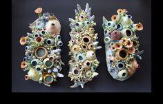 Coral Reef inspired Ceramic artwork of artist Diane Martin Lublinski Arte Coral, Coral Art, Ceramic Clay, Ceramic Pottery, Porcelain Ceramic, Slab Pottery, Pottery Wheel, Pottery Vase, Ceramic Bowls