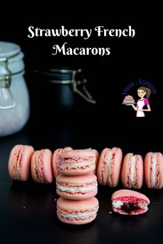These strawberry French macarons are light meringue-based cookies that will melt in your mouth. Soft chewy on the inside with a crisp shell on the outside. This simple, easy and effortless recipe with my full proof method will guarantee you success over and over again. Made with almond meal and strawberry flavor these are filled with Swiss meringue buttercream and strawberry jam today. Fun Easy Recipes, Easy Cookie Recipes, Best Dessert Recipes, Baking Recipes, Sweet Recipes, Snack Recipes, Healthy Recipes, Snacks, Easy Macaroons Recipe