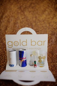 Guests received a minibar kit that included recipes for three cocktails and the ingredients needed to make them, like Red Bull, Goldschlager, and candy drink stirrers.