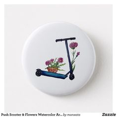 Shop Push Scooter & Flowers Watercolor Art Badge created by mansata. Sweet Drawings, Art Drawings, Pin Badges, Mandala Art, Watercolor Art, Colorful Backgrounds, Decorative Plates, Flowers, Ideas
