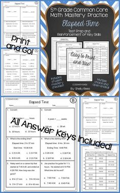 Elapsed Time - Fifth Grade Common Core Test Prep and Practice Packet.  Worksheets, Answer Keys, and Student Data Sheet.  Print and Go...so easy, yet so helpful!