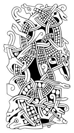 "Результат пошуку зображень за запитом ""jelling style"" Celtic Tribal, Celtic Art, Viking Symbols, Viking Art, Vikings Time, Viking Pattern, Wood Carving Designs, Nordic Tattoo, Viking Designs"