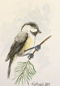 Mini watercolor Chickadee ACEO, Artist Trading Card. $7.50, via Etsy.