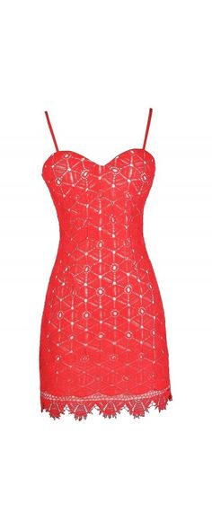 Crochet Away Dress in Coral Red  www.lilyboutique.com