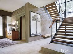Modern Neutral Entry Foyer and Stairwell Stairs Clean Interior Large Painting. No bench and no pad for stairs. Design Entrée, House Design, Interior Design, Cream Living Rooms, Modern Stairs, Desert Homes, Foyer Decorating, Built In Bench, House Stairs