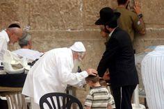 A Jewish elder prays for two Orthodox Jewish boys at the Western (Wailing) Wall…