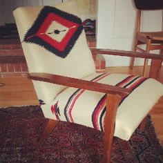 navajo rug covered mid century furniture