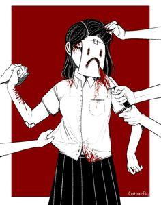 Main Acc: Grotesque-DollI draw gore, anime, lolita, and creepy things. Sad Anime, Manga Anime, Anime Art, Arte Horror, Horror Art, Ero Guro, Depression Art, Arte Obscura, Dibujos Cute