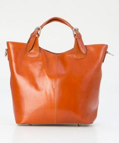 Love this one, but not the $200 price tag! :} Cognac Buckle-Handle Leather Tote #zulily #zulilyfinds
