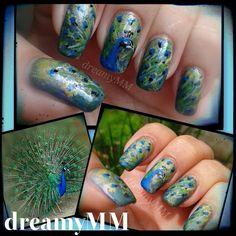 Peacock blue and green nail art The Art Of Nails, Great Nails, Love Nails, My Nails, Peacock Nails, Feather Nails, Peacock Blue, Green Nail Art, Animal Nail Art