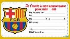 5 invitations anniversaire de clubs de foot à imprimer. Les 5 clubs sont Fc Barcelone, Real Madrid RM, Paris Saint-germain PSG, Olympique Marseille OM et M