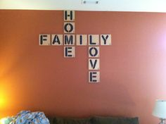 Scrabble letters made from ply wood and chalk board paint