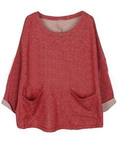 Red Batwing Long Sleeve Pockets Front Oversized Sweatshirt. This is everything...