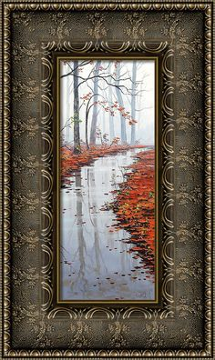 Fall Canvas Print featuring the painting Misty Tream by Graham Gercken