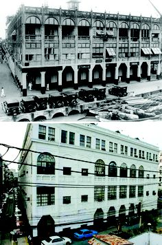 At the corner of Burke and Escolta Streets in Manila, the Regina Building in the 1930s was the home of the Cadillac dealership.  Partly damaged during the way, it was renovated and still exists in 2005.  Notice how the Pasig River has been reclaimed.