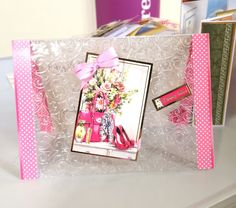 Card created by using acetate with an embossing folder.
