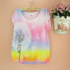 Dandelion pattern women top tees short-sleeved o-neck tshirt l summer dress 24b80e996f6