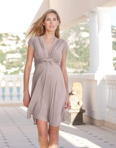 b7bdb25f9f3 @Seraphine Maternity Front Knot Dress short sleeves Taupe #WTEStyle Maternity  Dresses For Baby Shower