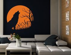 Style & Apply Howling Wolf Wall Decal Wall Decal, Sticker, Mural Vinyl Art Home Decor - 3962 - Beige, x Wall Stickers Animals, Animal Wall Decals, Kids Wall Decals, Wall Stickers Murals, Vinyl Wall Art, Wall Murals, Creative Wall Painting, Diy Wall Painting, Tropical Wall Decals
