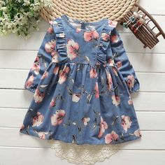 Our Winnie Dress is a long sleeve dress featuring a ruffled bodice and A-line skirt. Button fastener in back Soft flannel Mid-length - July 13 2019 at Frocks For Girls, Little Girl Dresses, Girls Dresses, Flower Girl Dresses, Flower Girls, Dresses For Toddlers, Dress Girl, Little Girl Fashion, Kids Fashion