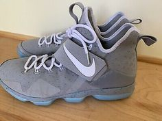 Nike Mag - Latest Nike Mag for Sales #nike #nikemag Lebron 14 Shoes, Nike Lebron, Nike Mag, Marty Mcfly, Lebron James, Blue Grey, Size 14, Sneakers Nike, Best Deals