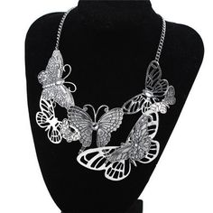 This antique silver butterfly necklace is the perfect vintage inspired accessory to dress up any outfit.