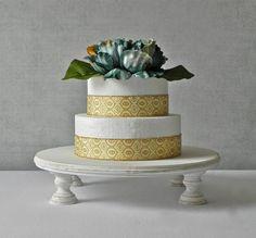 "Cake Stand 14"" Round Cupcake Dessert Rustic Whitewash Vintage Shabby Wedding By E. Isabella Designs. As Featured In Martha Stewart Weddings"