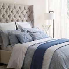 Traditional ticking stripes are made fresh for summer in vivid seaside blue. Just add in crisp white cottons and textural throws for an understated, yet smart feel. This look is all about everyday luxury.
