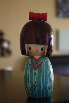 Red and Aqua Kokeshi