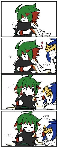 """Yugo:""""Can you pet me to!"""" Yuya:""""Of course little pup"""""""