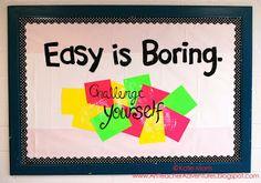 Adventures of an Art Teacher: Easy is Boring. Challenge Yourself! Bulletin board design.