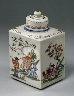 Tea caddy with cover - Du Paquier period (1718–1744), Date: ca. 1725, Austrian (Vienna), Hard-paste porcelain, Dimensions: H. 5-1/2 in. (14.0 cm.)