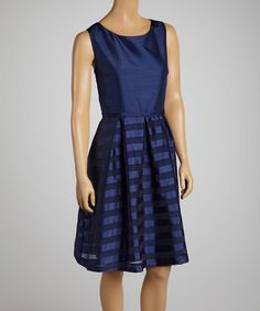 Another great find on #zulily! Deep Blue Stripe A-Line Dress by JM Studio #zulilyfinds
