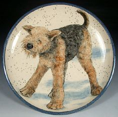 One wet Airedale!  Stoneware platter by Nan Hamilton