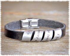 Men's Scroll Bracelet - Men's Chunky Leather Bracelet