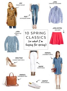 10 Spring Must-Haves -Trench Jacket, Jeans, Button Down Shirt, Striped T, Skirt, Chambray Dress, Khakis, White Sneakers, Hunter boots, Sunglasses