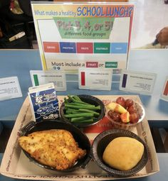 Color-coded signage on the cafeteria lines and trays at Hillsborough School District advise students what components make a healthy (and reimbursable) lunch
