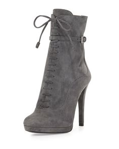 Lace-Up High-Heel Ankle Boot, Gray by Prada at Neiman Marcus.