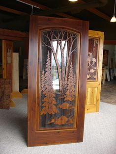 Custom sand carved wood doors are ideally suited for residential homes, lake homes, or cabins. Wood Entry Doors, Entrance Doors, Wooden Doors, Front Doors, Wooden Glass Door, Sliding Glass Door, Glass Design, Door Design, Cabin Doors