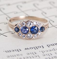 Victorian Cumulus Diamond and Sapphire Ring, $1,800.00