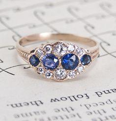 Victorian Cumulus Diamond and Sapphire Ring, $1,800.00