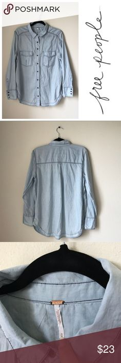 Free People Light Blue Cotton Button Up Blouse Classic Free People Light Blue Cotton Button Up Blouse!  🦋 Size M 🦋 light blue coloring with contrasting darker blue stitching  🦋 long sleeves with buttoned cuffs 🦋 cute bronze buttons 🦋 two pockets for stuff  🦋 longer cut with rounded hem  Materials  100% Cotton Free People Tops Button Down Shirts
