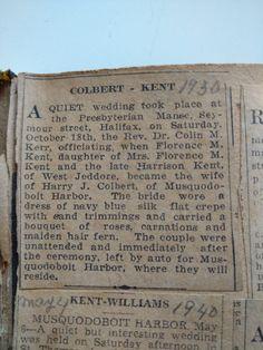 colbert kent marriage nova scotia genealogy