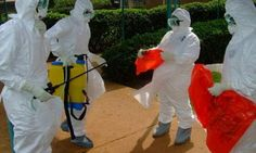 A British man in Macedonia died of Ebola w/in hours of his admission to a hospital in Skopje, Macedonia. Health workers are shown in the photo ( R ) in HazMat suits with sprays and other material. Since the man had not been to Africa and further testing is underway re: cause of the man's death.