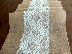 Wedding table runner, rustic wedding tablecloth, burlap and mint lace table runner,  handmade in the USA,