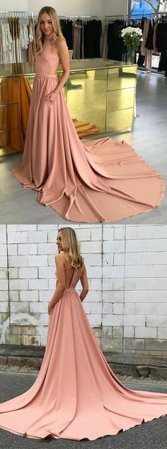 A-Line High Neck Court Train Blush Prom Dress Cut Out Back with Pockets M0753#prom #promdress #promdresses #longpromdress #promgowns #promgown #2018style #newfashion #newstyles #2018newprom#eveninggowns#highneck#courttrain#blushpromdress#cutoutback#pockets
