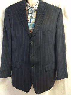 MICHAEL Michael Kors Sports Coat 48 Pure Wool Pinstripe Blazer Nay Blue 3 Button #MICHAELMichaelKors #ThreeButton