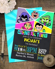 Teen Titans Go inspired Invitation by Gingeyspartyplace on Etsy